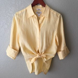 VINTAGE 100% Irish Linen Yellow Button Down Shirt